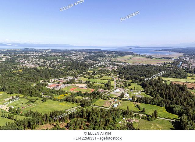 Aerial view looking towards Courtenay and Comox; Vancouver Island, British Columbia, Canada