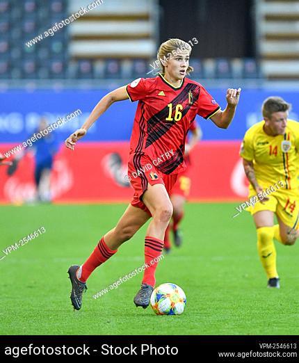 Belgium's Marie Minnaert pictured in action during a soccer game between Belgium's Red Flames and Romania, Friday 18 September 2020 in Heverlee