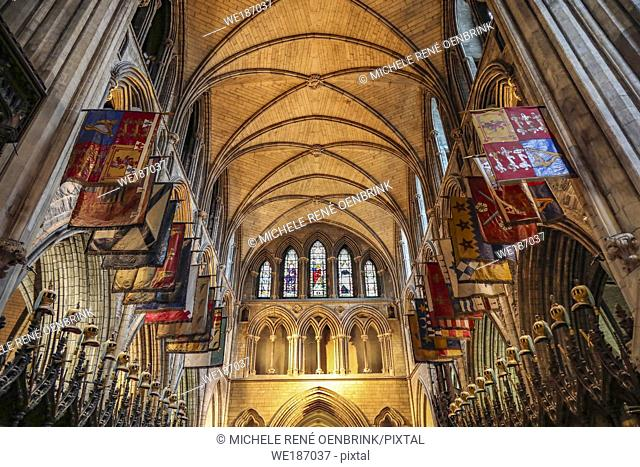 Stained glass windows at St Patricks Cathedral in Dublin, Ireland, Republic of Ireland