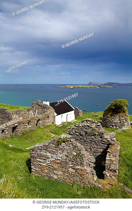 Cottage and Deserted Cottages on Great Blasket Island, The Blasket Islands, Off Slea Head on the Dingle Peninsula, County Kerry, Ireland