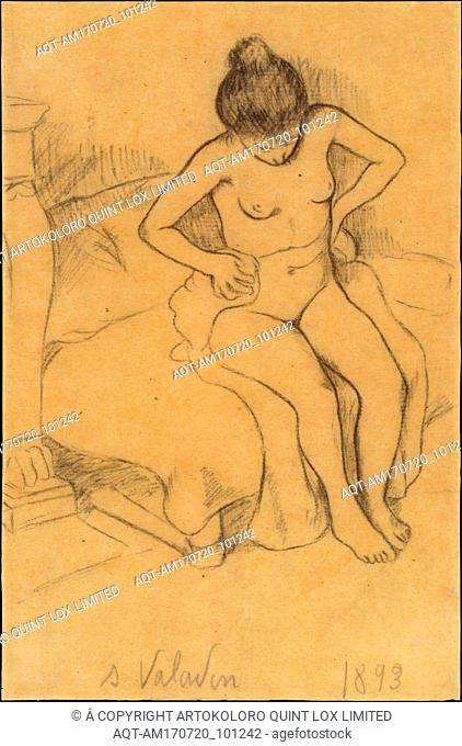 After the Bath, 1893, Black crayon on tan wove paper (possibly lithograph transfer paper), back with white rice paper for conservation, 8 1/8 x 5 5/16 in