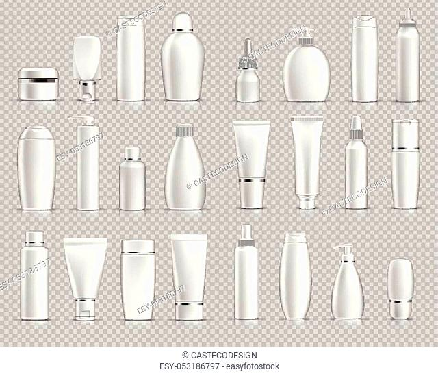 Realistic Cosmetic bottles mock up set on silver background. Blank templates of empty and clean white plastic containers