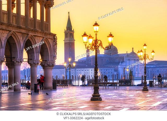 San Marco square in winter at sunrise. Europe, Italy, Veneto, Venice