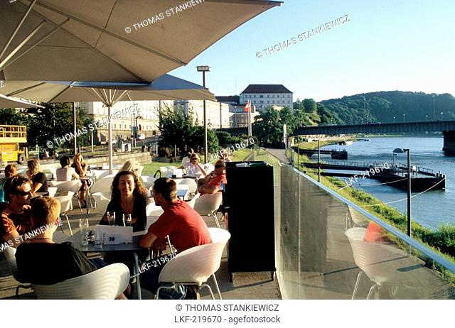 Cafe at Lentos Museum near the river Danube, Linz, Upper Austria, Austria
