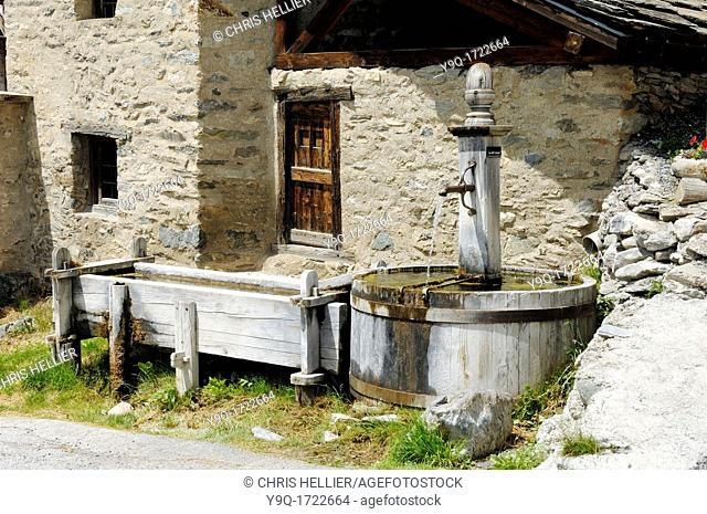 Wooden Fountain and Trough Pierre-Belle District Saint-Véran Queyras Haute-Alpes French Alps France