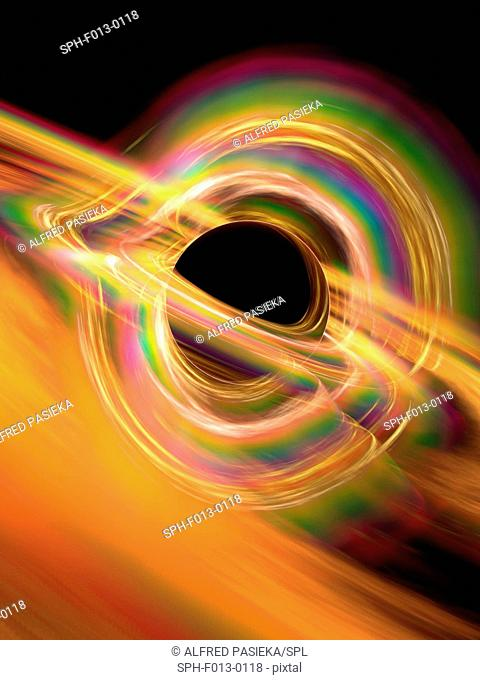 Black hole. Computer artwork representing a black hole. A black hole is a super- dense object, thought to form from the collapse of a huge star