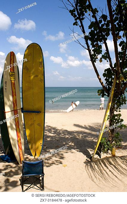 Offerings from the surfers on the beach of Kuta. Surfing lessons. Bali. Indonesia. Kuta is a coastal town in the south of the island of Lombok
