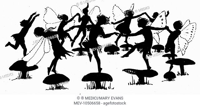 'The Fairy Ring' (fairies dancing on toadstools) - from 'The Forest Fairies'