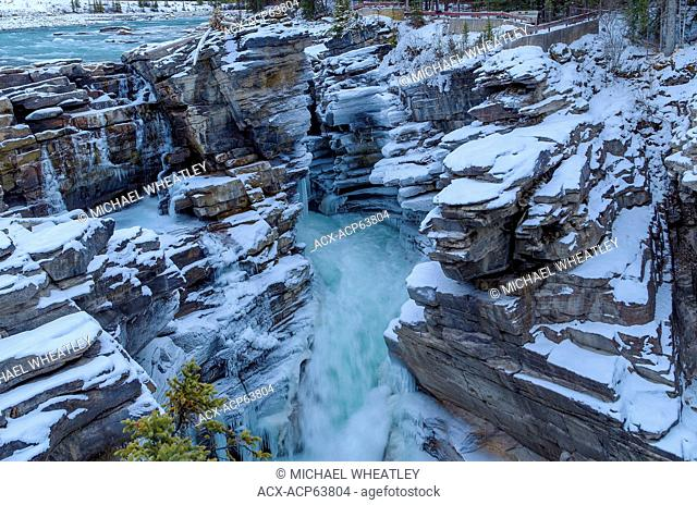 Athabasca Falls in Winter, Jasper National Park, Alberta, Canada