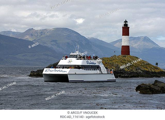 Tourist boat  'Faro at the end of the world' Beagle Channel near Ushuaia Tierra del Fuego Argentina