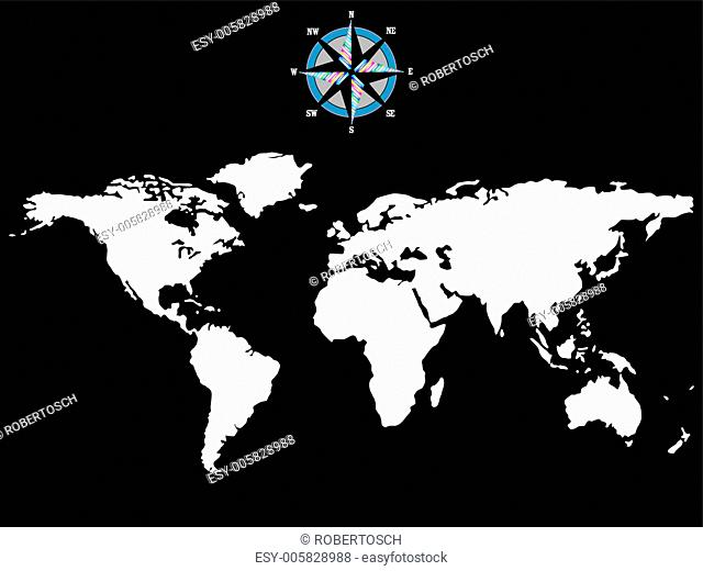 white world map with wind rose isolated on black background