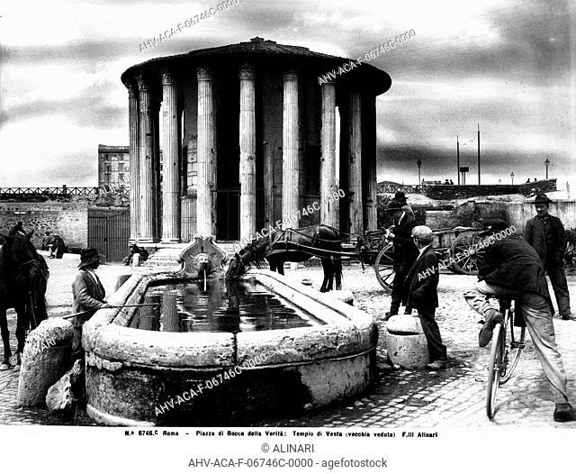View of the Piazza Bocca della Verità with the Temple of the Vestals in Rome (II century BC), shot 1890 ca. by Alinari, Fratelli