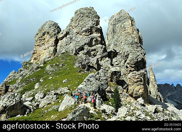 The Rosengarten or Catinaccio group in the Dolomites. They are a mountain range declared a UNESCO World Heritage Site. Trentino province, Italy