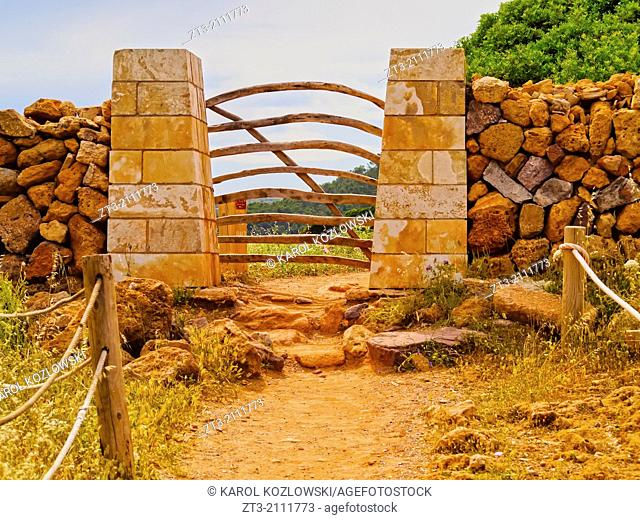 Traditional Wooden Gate on Northern Menorca, Balearic Islands, Spain