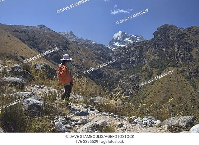 Hiker on the beautiful Laguna Churup trail, Huascaran National Park, Huaraz, Peru