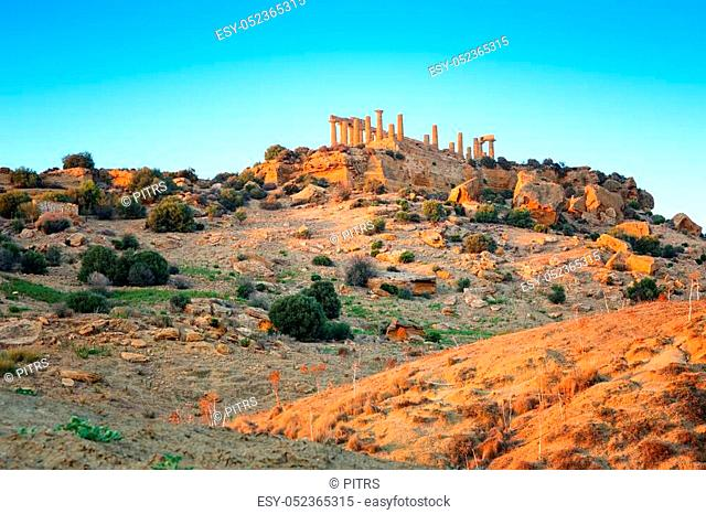 Temple of Juno - ancient Greek landmark in the Valle dei Templi outside Agrigento, Sicily