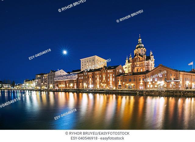 Helsinki, Finland. View Of Kanavaranta Street With Uspenski Cathedral In Evening Night Illuminations