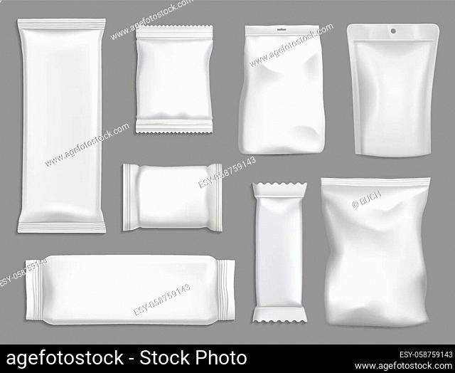 Snack packages vector mockup, sachet or pouch bags isolated 3d template. Foil, plastic or paper white rectangular packs. Blank packages for food