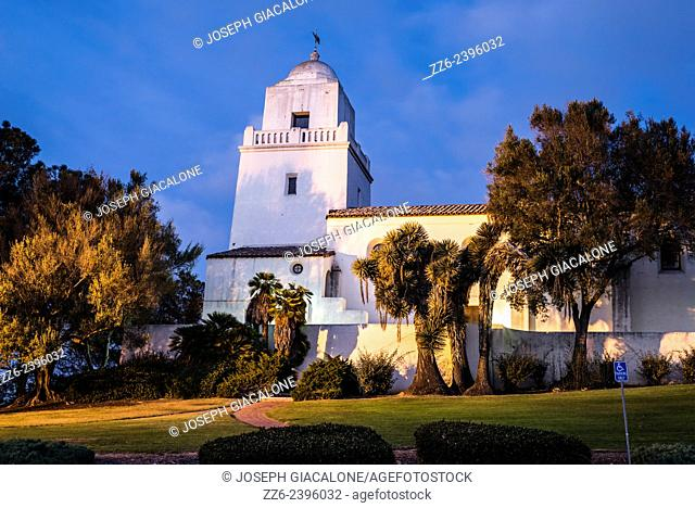 View of the Junipero Serra Museum building at night. Presidio Park, San Diego, California, United States