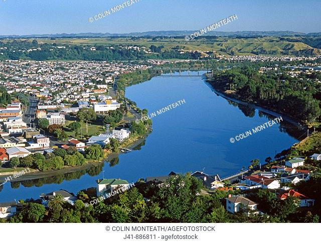 City and Whanganui River from Durie Hill War Memorial Tower Wanganui New Zealand