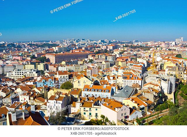 View from Miradouro Sophia de Mello Breyner Andresen, Alfama, towards Mouraria and hospiltal Sao Jose, Lisbon, Portugal