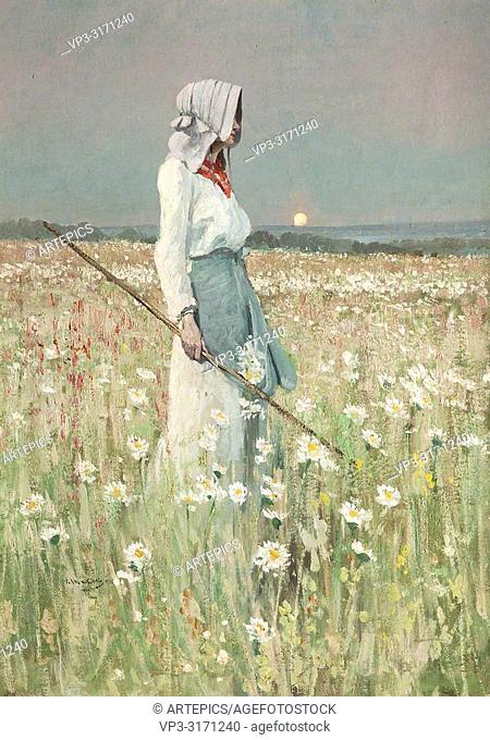 Wells William Page Atkinson - Girl in a Meadow