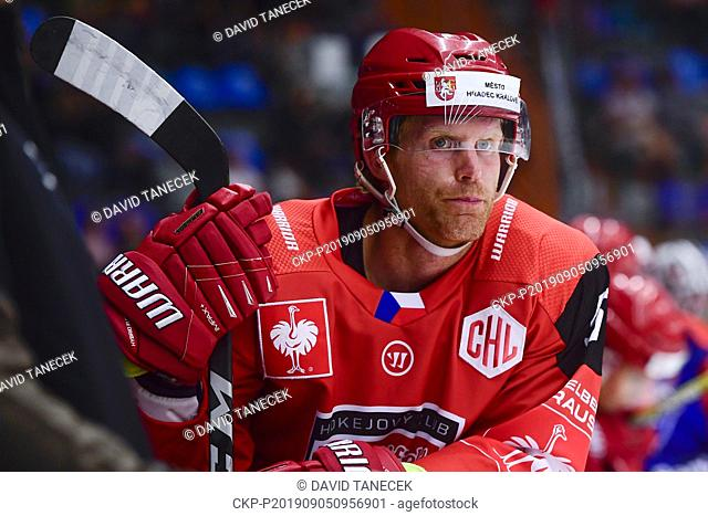 From left hockey player PHILIP SAMUELSSON of Hradec Kralove in action during the Champions Hockey League H group game: Hradec Kralove vs Cardiff Devils in...