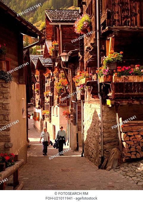 Switzerland, Europe, valais, wallis, Val d'Anniviers, Grimentz, old chalets along a narrow pedestrian street
