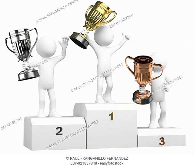 3D athletes on the podium of winners