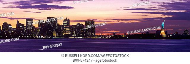Downtown Skyline And Statue Of Liberty, Manhattan, New York, USA