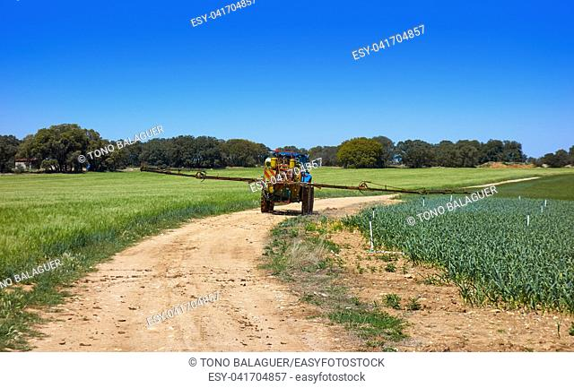 Fumigation tractor in cereal and onion fields in Spain Castile La Mancha