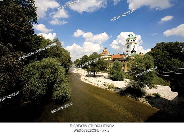 germany, Bavaria, Munich, Isar river and Muellersches Volksbad