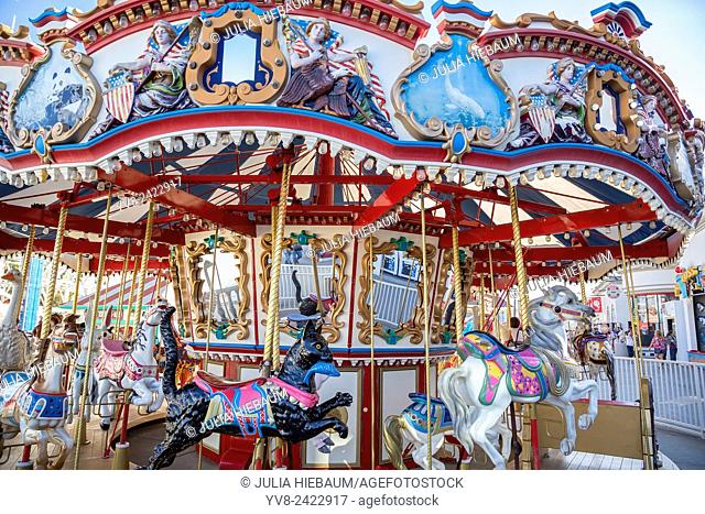 Colorful Carousel at Belmont park, San Diego, California