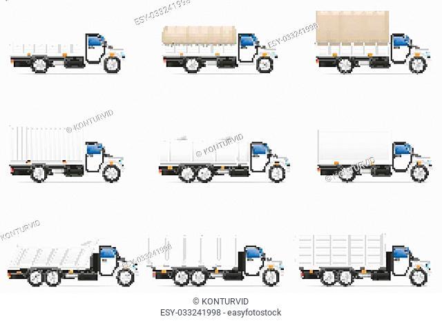 set icons trucks semi trailer vector illustration isolated on white background