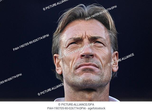 05 July 2019, Egypt, Cairo: Morocco manager Herve Renard stands on the touchlines during the 2019 Africa Cup of Nations round of 16 soccer match between Morocco...