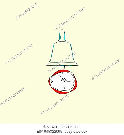 clock with pendulum and alarm on beige background