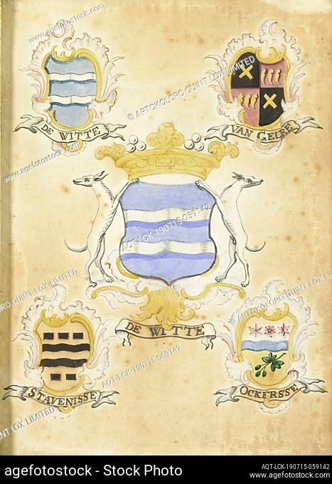 The coat of arms of Anna Jacoba de Witte, wife of Jacob Verheye of Citters, with the arms of her four grandparents, The coat of arms of Anna Jacoba de Witte...