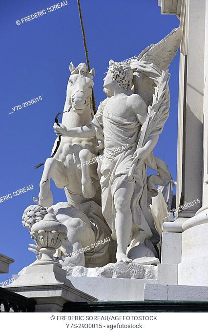 Detail of sculpture, Arch at Commerce Square (Praça do Comercio), Lisbon, Portugal