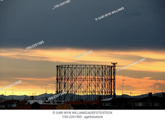 Rome, Italy 16th June 2014 Weather Italy - Storm clouds at sunrise gather above the gas holder in the Testaccio district of Rome