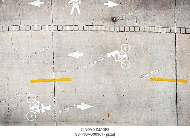 Overhead View of Bicycle Lanes