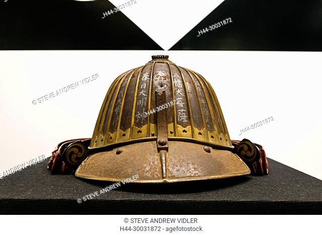 Japan, Honshu, Kanagawa Prefecture, Odawara, Odawara Castle, Exhibit of Historical Warriors Helmet in The Main Tower