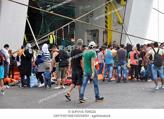 The ferry Eleftherios Venizelos is open to migrants and refugees at the port, the southeastern island of Kos, Greece, Monday, August 15, 2015
