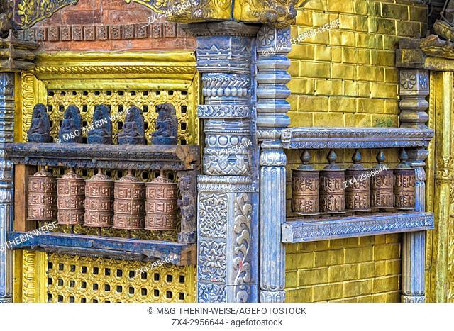Prayer Wheels, Swayambunath or Monkey Temple, Unesco World Heritage Site, Kathmandu, Nepal, Asia