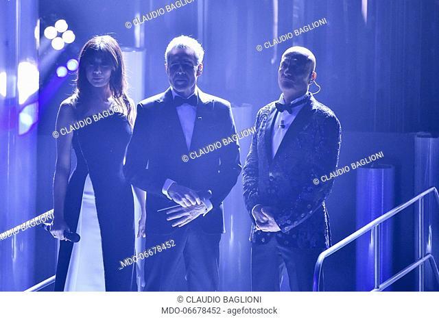 Virginia Raffaele, Claudio Baglioni e Claudio Bisio at the evening of the 69th Sanremo Music Festival. Sanremo (Italy), February 5th, 2019