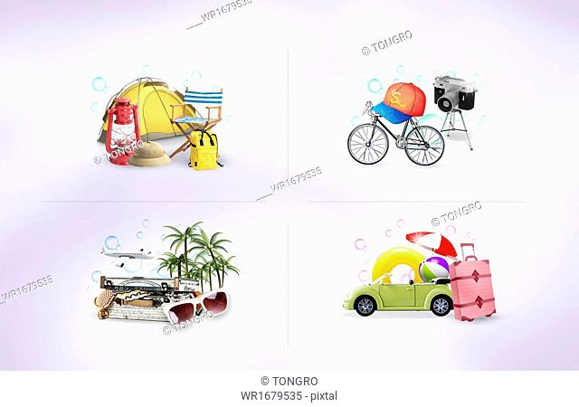 a set of items related to summer