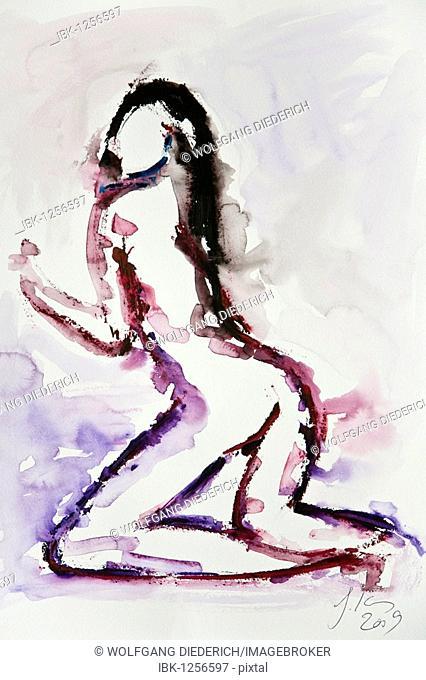 Female nude, watercolor, artist Gerhard Kraus, Kriftel, Germany, Europe