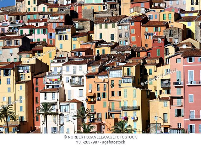 Europe, France, Alpes-Maritimes, Menton. The colored house of the old town