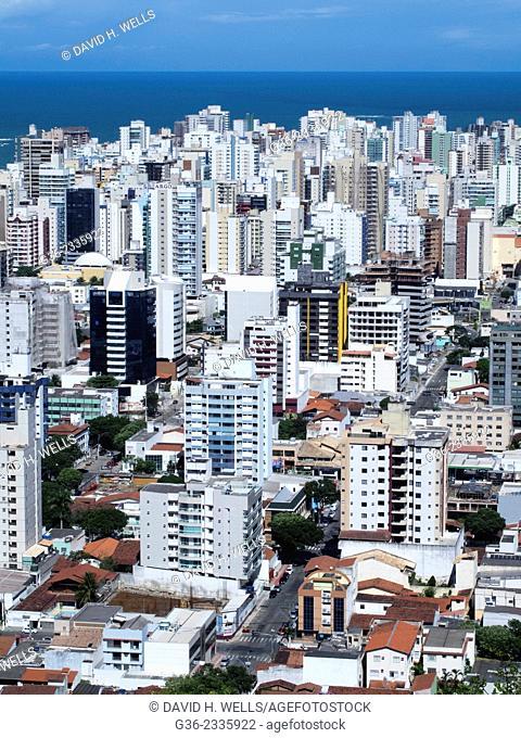 Residential structures and city skyline at Vitoria, Espirito Santo, Brazil