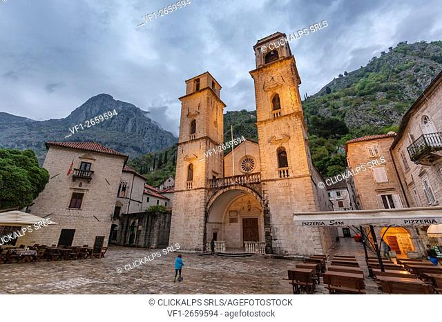 Cathedral of St. Tryphon, view of the exterior facade, Kotor old city, Montenegro