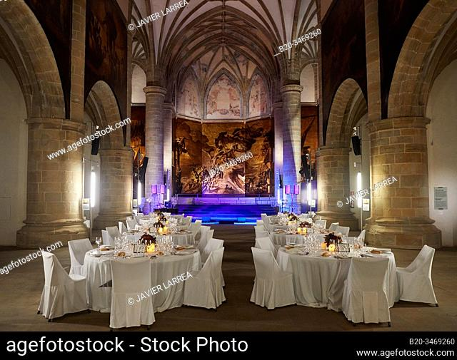 Dining room installed for event in the church of former Dominican convent (16th century), San Telmo Museum, Donostia, San Sebastian, Gipuzkoa, Basque Country